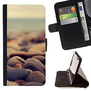 Momo Phone Case / Flip Funda de Cuero Case Cover - Piedras de la playa;;;;;;;; - Samsung Galaxy Core Prime