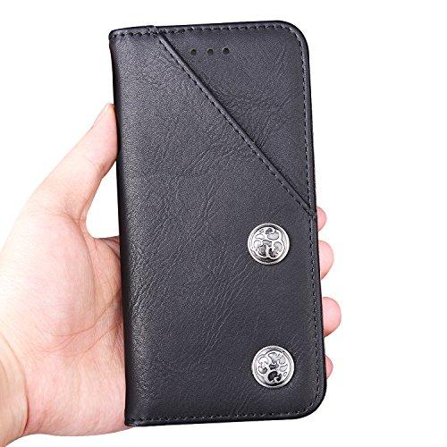 para iPhone 7 Plus Wallet Phone Case, Vandot Premium PU Cuero Caja del Teléfono de la Carpeta con Desmontable TPU Bumper Phone Shell y Ranuras Tarjeta de Crédito y Makeup Mirror Multifuncional Mano Bo Bronze-4
