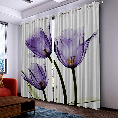 Fantasy Star Thermal Insulated Blackout Curtain for Bed Room- Purple Tulip Vibrant Watercolor Flower Darkening Blackout Curtain with Grommet