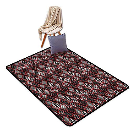 (Bedroom Floor Rug Red and Black Geometric Rectangle Frames Retro Patterns Polka Dots and Houndstooth Children's Rug W6'xL8')