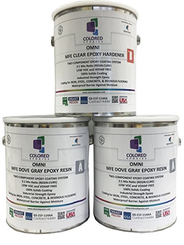- Coloredepoxies 10019 Light Gray Epoxy Resin Coating Made with Beautiful and Vibrant Pigments, 100% solids, For Garage Floors, Basements, Concrete and Plywood. 3 Gallon Kit