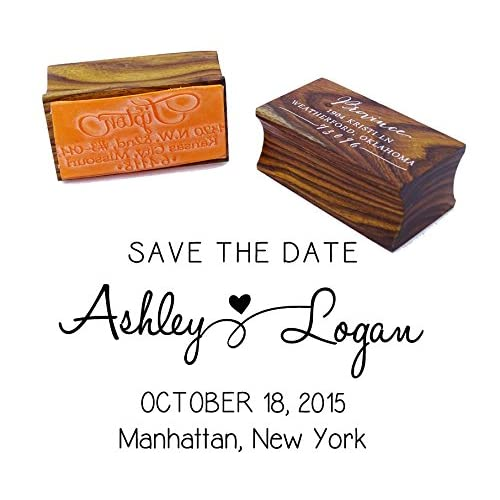 Custom Save The Date Wedding Invitation Stamp Wood Mounted Rubber Gift Idea