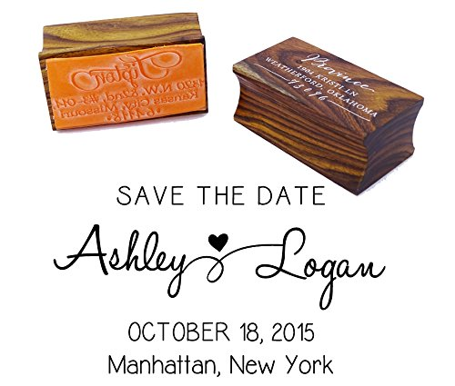 Custom Save The Date Wedding Invitation Stamp Wood Mounted Rubber Stamp Gift -