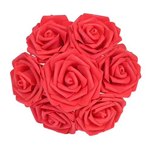 Artificial Flower Foam Roses Bridal Wedding Party Bride Bouquet Rose Red - 5