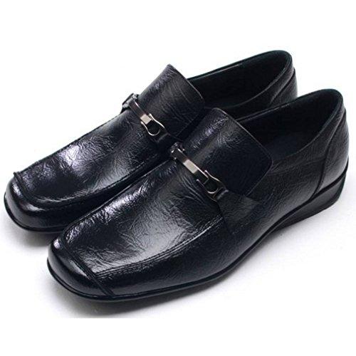 Epicstep Menns Ekte Skinn Stilig Kjole Formell Business Casual Komfort Sko Oxfords Loafers Svart