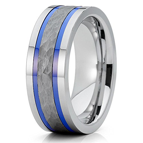 8mm Polished Silver Tungsten Carbide Wedding Band Dual Blue Groove Hammered Center Pipe Cut 10 (Finish Hammered Silver Band)