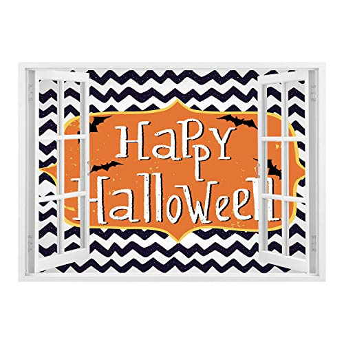 SCOCICI Creative Window View Home Decor/Wall Décor-Halloween,Cute Halloween Greeting Card Inspired Design Celebration Doodle Chevron Decorative,Indigo White Orange/Wall Sticker Mural