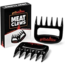 Grillaholics Meat Claws - Best Bear Claw Pulled Pork Meat Shredders in BBQ Grill Accessories - FREE Bonus - Dishwasher Safe - Premium Quality Grilling Handler Carving Fork - Set of 2 (Black)