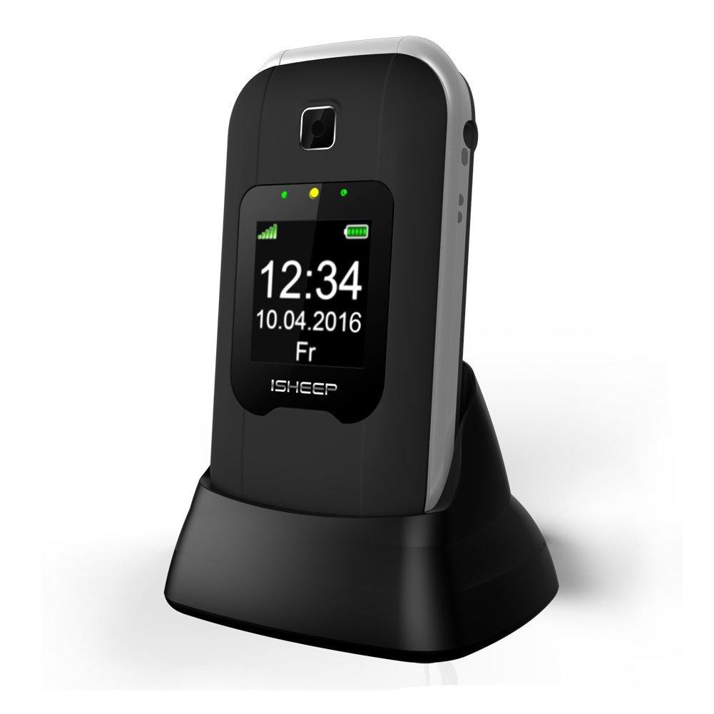 Teléfono móvil con Tapa para Personas Mayores, Teclas Grandes, Isheep...