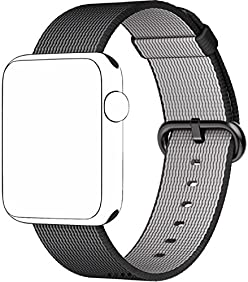 SELLERS360 Nylon Watch Woven Band Replacement Strap for Apple watch band Series 1 Series 2 iwatch (Black 42mm)