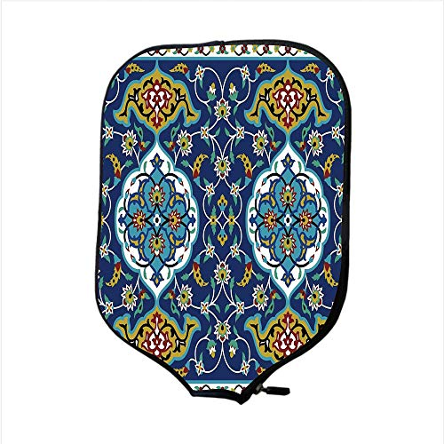 Authentic Outrigger Canoe Paddle - iPrint Neoprene Pickleball Paddle Racket Cover Case,Moroccan,Authentic Oriental Motif with Vintage Byzantine Style Tile Effects Artwork,Mustard Royal Blue,Fit for Most Rackets - Protect Your Paddle