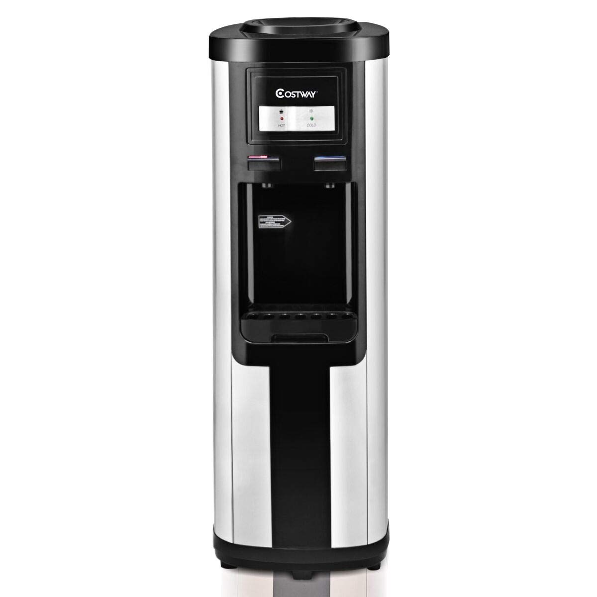Costway 5 Gallon Water Cooler Dispenser Top Loading Stainless Steel Freestanding Water Dispenser w/Hot and Cold Water (Black)