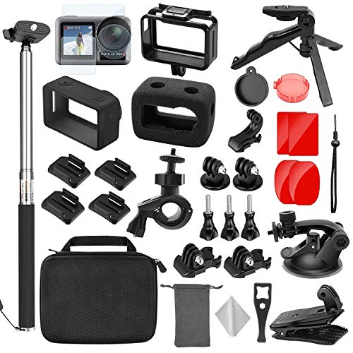 TONCHU 32-in-1 Expansion Accessories Kit for DJI OSMO Action Camera+Gopro Mounts,Osmo Action Kit Inclouding Carrying Case/Camera Border/Silicone Case/Filter/Lens Protection Cover/Tripod and More