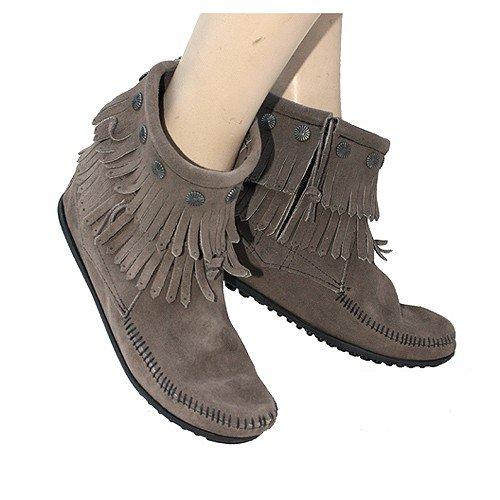 Minnetonka Damen Moccasin Double Fringe Side Zip Boot Fransen Komfort Innensohle Wildleder sehr weich bequem original Grau/Grey