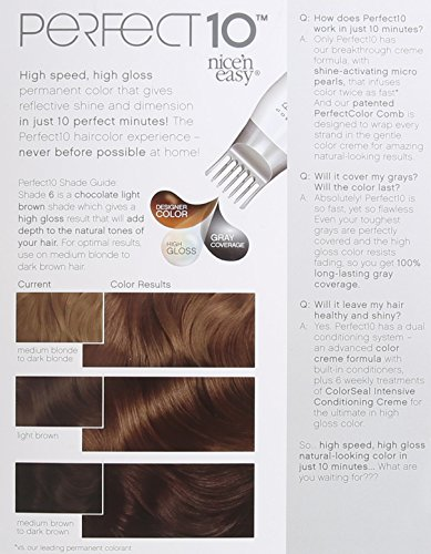 Clairol Perfect 10 By Nice N Easy Hair Color 006 Light Brown Chocolate Shake 1 Kit Pack Of 2