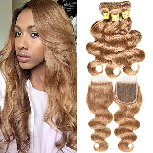 Mother's Day Gifts for mom Brazilian Human Virgin Hair Honey Blonde Color Body Wave Hair Extension 3 Bundles with Lace Closure 27# Human Hair(20 20 22+20closure) -