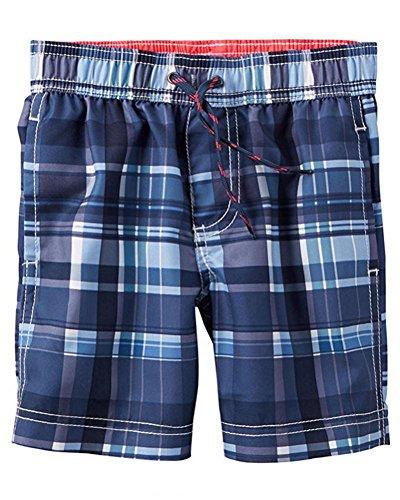 Carter's Little/Big Boys Plaid Blue Swim Short (6) ()