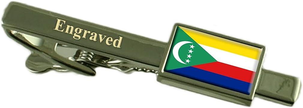 Comoros Flag Engraved Personalised Tie Clip
