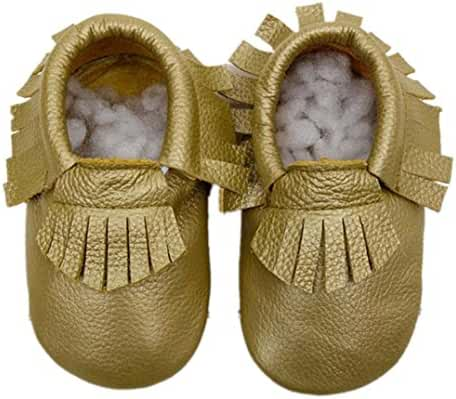 Dacawin Baby Tassel Toddler Moccasin Soft Sole Leather Shoes