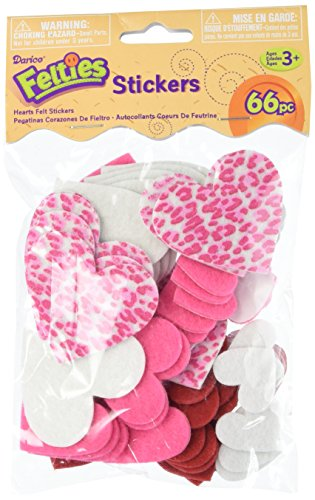 Darice FLT-1006 Felties Felt Stickers - Printed Hearts - 66Piece Felt Hearts (Shape Heart Felt)