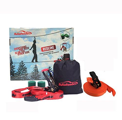 Autofonder High-Grade 25M Slackline kit Training Line,Slack Line Balance Line Kit Include Slackline+Training Line+Two Pieces Tree Protector+Balck Bag by Autofonder