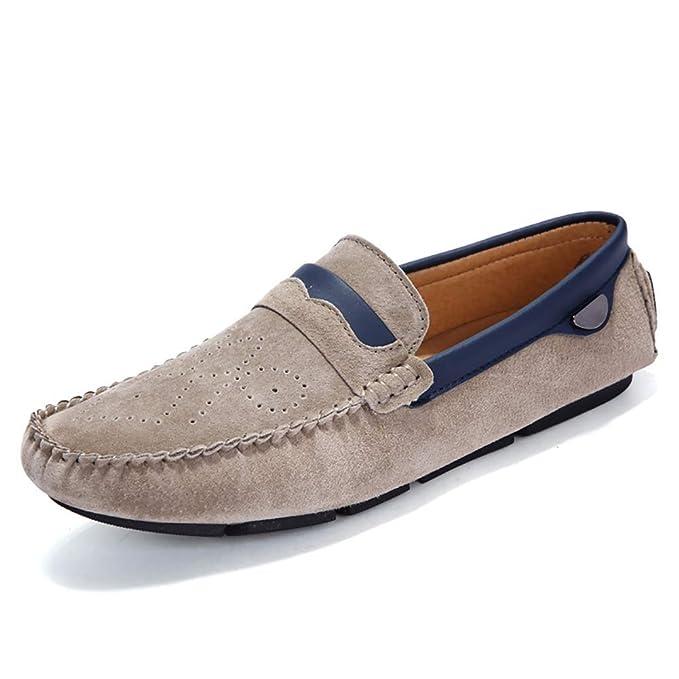 Zapatos De Hombre Mocasines De Ante Casual Slip On Mocasines Planos Zapatos Náuticos De Penny Mocasines,Khaki,44: Amazon.es: Ropa y accesorios