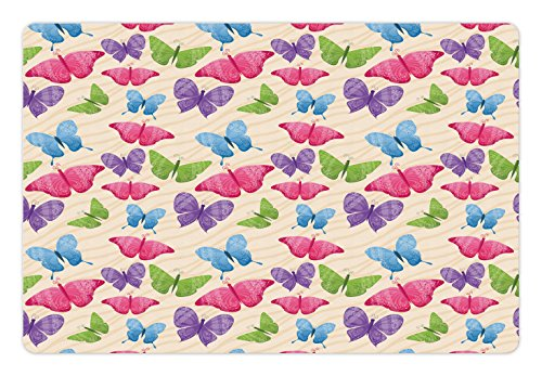 Modern Pet Mats for Food and Water by Ambesonne, Cute Colorful Butterflies in Vibrant Tones Mothes Spiritual Wings Kids Girls Design, Rectangle Non-Slip Rubber Mat for Dogs and Cats, Multicolor