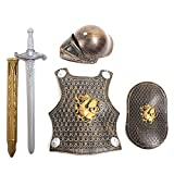 Per 4 Piece Suit Children Helmet and Armor Clothing for Imaginative Play - Helmet, Sword, Shield, Helmet and Armor Included, Suitable for 3-8Y Kids (GoldenGragon)