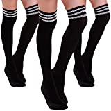 HDE Women's Extra Long Athletic Soccer Rugby Football Sport Tube Socks - 3 Pair
