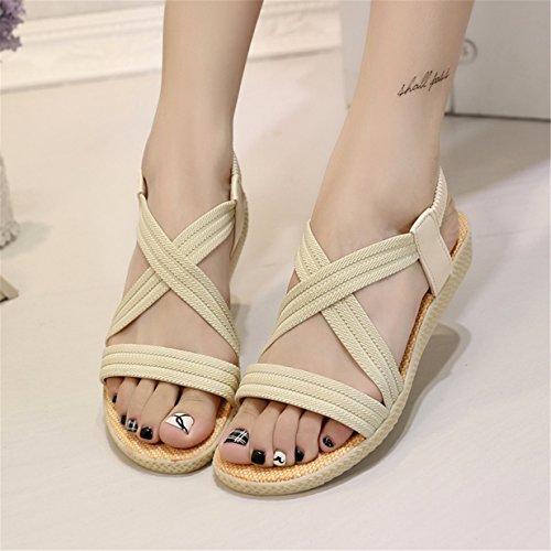 Bride Bout de Femme Cheville Beige Chaussures Ouvert Sandales Sandales Lalang à Plates qEaYa