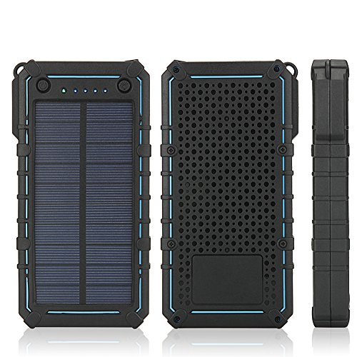 Solar Charger, 15600mAh Portable Solar Power Bank External Backup Battery Pack Phone Charger, 2 Dual USB, 2 LED Lights for iPhone iPad Samsung HTC Cellphones,Outdoor Camping Travel Accessory (BLUE)