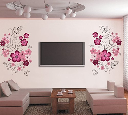 ORDERIN Christmas Gift Decal Vivid Pink Flower Vine Removable Mural Wall Stickers for Television Background Living Study Home Wall Decor