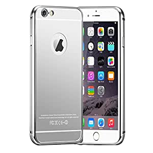 "Para iphone 6 Plus , ivencase Lujo Aluminum Metal Bumper Detachable Style 2in1 Mirror Frame Ultra Slim Funda Carcasa Tapa Case Cover Para Apple iphone 6 Plus (5.5 "") Silver"