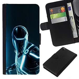 YiPhone /// Tirón de la caja Cartera de cuero con ranuras para tarjetas - Futurista Hierro Superhéroe - HTC DESIRE 816