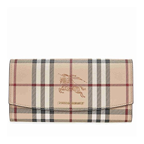 Burberry Women's Haymarket Check and Leather Continental Wallet Tan