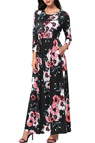 Women Floral Vintage Boho Prom Dress Black - 1