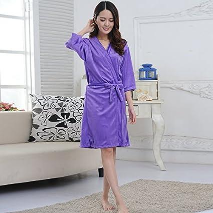 MIWANG Creative Minimalista Home Pijama, Señoras Invierno Albornoces, Batas de Manga Larga de Terciopelo