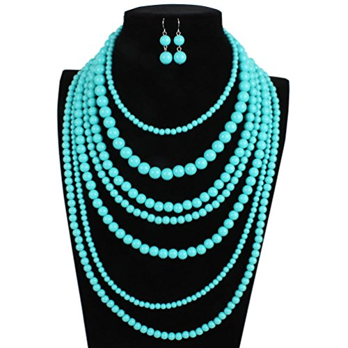 omylady Fashion Beaded Statement Strand Necklace Earring Sets Acrylic 7 Strands Multi-Layered Collar Choker for Women (Turquoise)