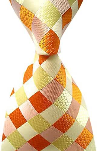 Allbebe Men's Classic Checks Yellow Orange Jacquard Woven Silk Tie Necktie
