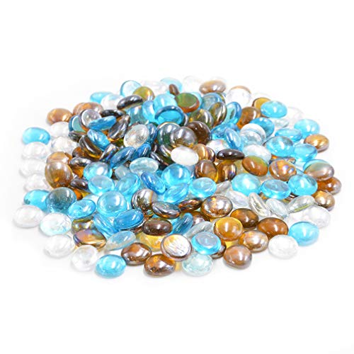 Skyflame 10-Pound Blended Fire Glass Drops for Fire Pit Fireplace Landscaping, 1/2-Inch Caribbean Blue, Crystal Ice, Caramel Luster