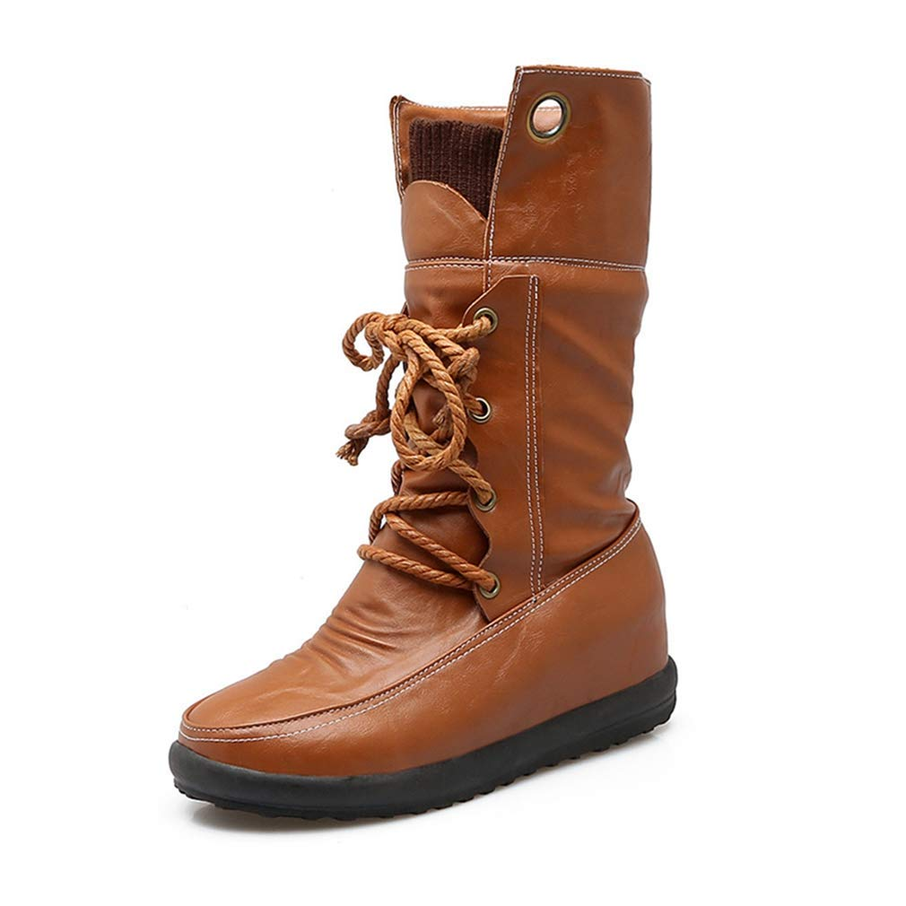 Fashion Shoebox Womens Combat Mid Calf Boots Leather Waterproof Round Toe Lace Up Flat Comfort Wide Calf Riding Boots