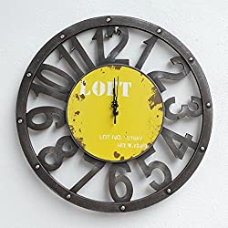 Nclon Retro Metal Wall clock,Rustic Large Mute silent quiet Round Hollow Noiseless Non-ticking Wall clock Home Office-yellow 39cm