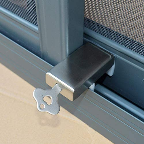 Dizi248 - Tope para puerta corrediza de acero inoxidable, antirrobo, antiderrapante, ajustable, con cierre de seguridad para niños, con llave: Amazon.es: Hogar