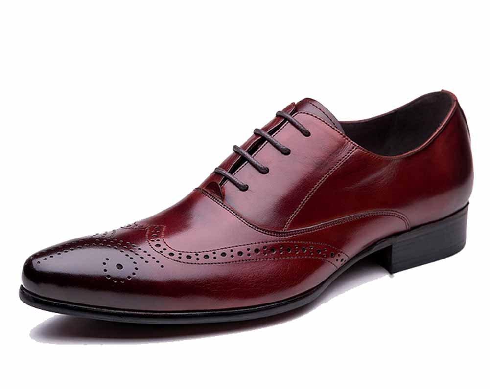 GLSHI Männer Geschäft Derby Schuhe Rindsleder Spitz Brouge Schuhe Anzug Schuhe Arbeit Schuhe Kleid Schuhe