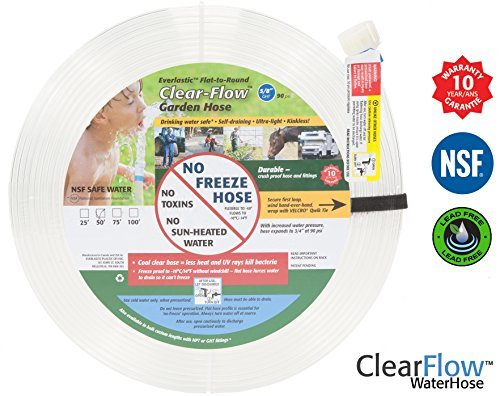 Garden Hose (50 ft) the Best Flexible Lightweight Shrinking Hoses - Lead Free & Drinking Safe! 5/8""