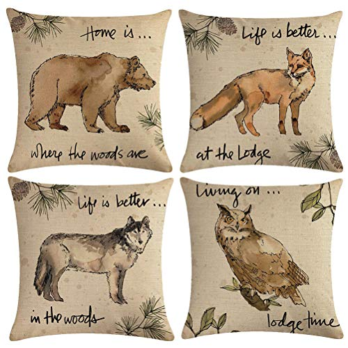 ULOVE LOVE YOURSELF 4Pack Vintage Wildlife Throw Pillow Covers Owl Fox Bear Wolf Pillow Cases Wild Animals in Forest Mountain Decorative Cushion Covers 18