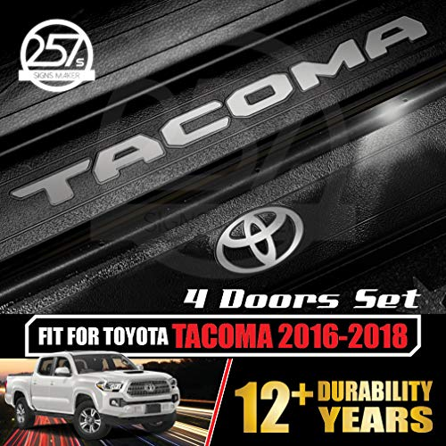 - All-Weather (Metallic Silver) Tacoma Doors Sill Protector Insert Letters & Logo Sticker Full Set for 4 Door Vinyl Decals 2016 2017 2018 Toyota
