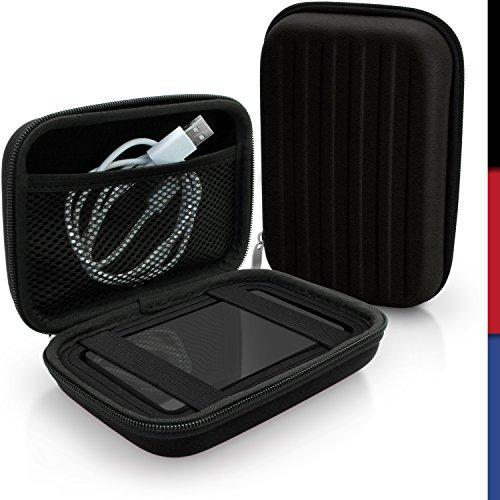 iGadgitz Black EVA Hard Travel Case Cover for LaCie Mirror, Porsche Design, Porsche Design Slim Portable External Hard Drives