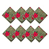 Newbridge Peaceful Poinsettia Allover Print Christmas Fabric Tablecloth, Holly Berry Xmas Print Cloth Tablecloth, 60 Inch x 144 Inch Oblong/Rectangle, Ivory