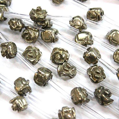 Natural Carved Pyrite Rose Flower Gemstone Loose Beads for Bracelet (8mm 25pcs)